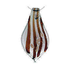 Silver-Red Murano Glass Leaf Pendant with Gold Accents on Sterling Silver 1.5mm Omega Chain