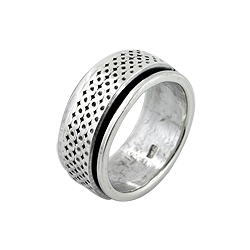 Sterling Silver Pin Holes Spin Ring