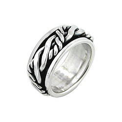 Sterling Silver Twisted Lines and Rope Spin Ring