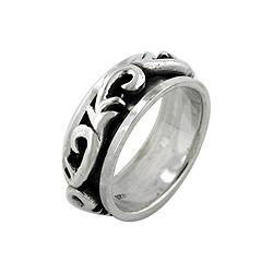 Sterling Silver Vines Spin Ring
