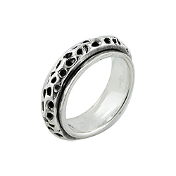 Sterling Silver Holes Spin Ring