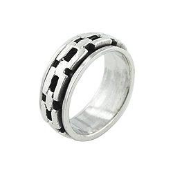 Sterling Silver Chain Spin Ring