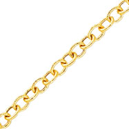 14K Yellow Gold Fancy Textured Link Anklet