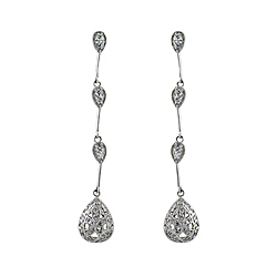Sterling Silver Pear-Shaped Dangling Pave CZ Stud Earrings