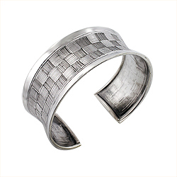 Sterling Silver Checkers Cuff