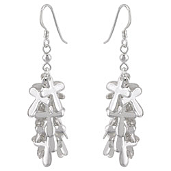 Sterling Silver Cross Accents Cascade Dangle Earrings