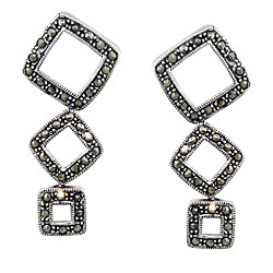 Sterling Silver Descending Squares Stud Earrings with Marcasite
