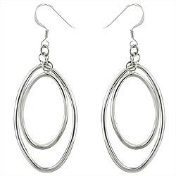 Sterling Silver  Double Ovals Dangle Earrings