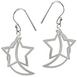 Sterling Silver Dangling Moon and Star Earrings