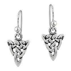 Sterling Silver Celtic Knot Funnel Dangle Earrings