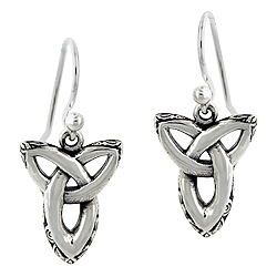 Sterling Silver Patterned Edge Celtic Knot Dangle Earrings