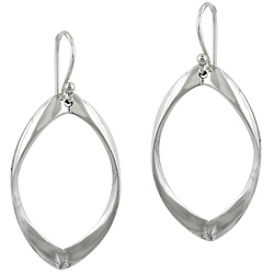 Sterling Silver Twisted Oval Dangle Earrings