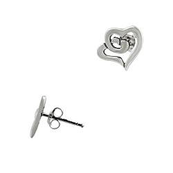 Sterling Silver Hugging Hearts Stud Earrings