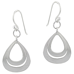 Sterling Silver Double Teardrop Dangle Earrings