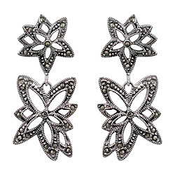 Sterling Silver Two Flower Stud Earrings with Marcasite