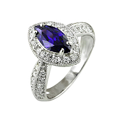 Sterling Silver Purple Marquise CZ Anniversary Ring