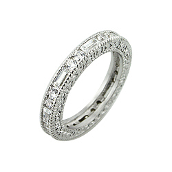 Sterling Silver Round and Baquette CZ Stackable Band