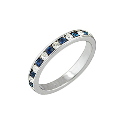 Sterling Silver White and Blue Channel Set Stackable Band