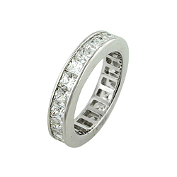 Sterling Silver Princess CZ Eternity Band