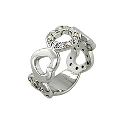 Designer Inspired Sterling Silver Solid and Pave CZ Ring