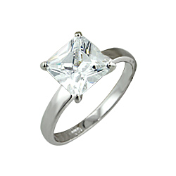 Sterling Silver Princess Cut Solitaire CZ Wedding Ring