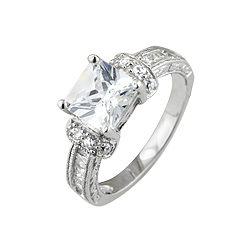 Sterling Silver Rhodium Finish Princess Cut Cubic Zirconia Engagement Ring