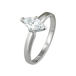 Sterling Silver Marquise Solitaire CZ Ring