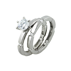 Sterling Silver Solitaire and Etoile CZ Engagement Ring Set