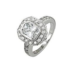 Sterling Silver Emerald Cut and Pave CZ Engagement Ring