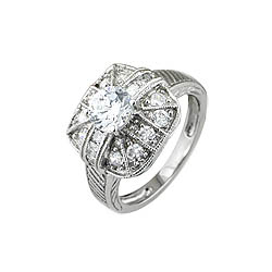 Sterling Silver Pave Cushion and Round CZ Anniversary Ring
