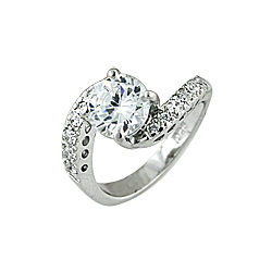 Sterling Silver Round CZ Twisted Pave Engagement Ring