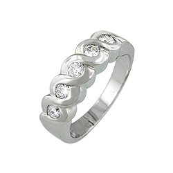 Sterling Silver Waves Ring with White CZ