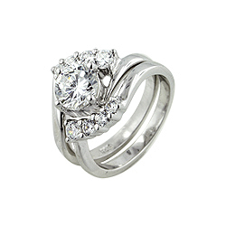 Sterling Silver Round CZ Engagement Ring Set
