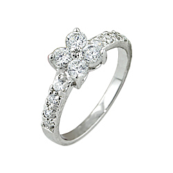 Sterling Silver Flower Pave CZ Ring