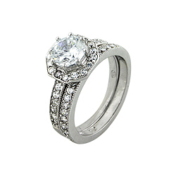 Sterling Silver Round CZ Pave Engagement Ring Set