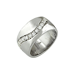 Sterling Silver Platinum Finish Pave CZ Wave Ring