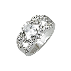 Sterling Silver Platinum Finish Oval CZ Antique Style Pave Ring