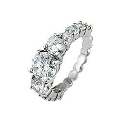 Sterling Silver Rhodium Finish Three Stone Pave Wedding Ring