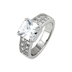Sterling Silver Rhodium Finish Princess CZ Pave Wedding Ring