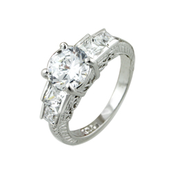 Sterling Silver Rhodium Finish Round and Princess CZ Antique Style Engagement Ring