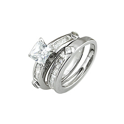 Sterling Silver Rhodium Finish Princess and Channel CZ Wedding Ring Set