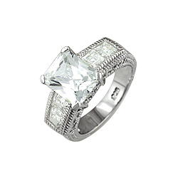 Sterling Silver Rhodium Finish Radiant CZ Engagement Ring