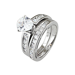 Sterling Silver Rhodium Finish Pear Shape Cubic Zirconia Wedding Ring Set