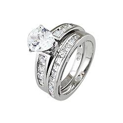 Sterling Silver Rhodium Finish Pear Shape Cubic Zirconia Wedding Ring Set