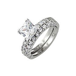 Sterling Silver Rhodium Finish Princess CZ Pave Engagement Ring Set