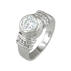 Sterling Silver Platinum Finish Bezel Set Round CZ Engagement Ring
