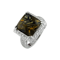 Sterling Silver Princess Cut Champagne CZ Ring