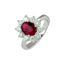 Sterling Silver Oval Cut Red CZ Pave Ring