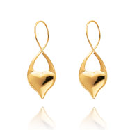 14K Polished Endless Twist Heart Earrings