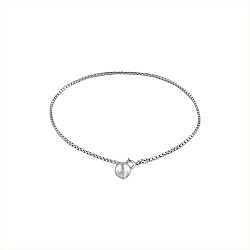 Sterling Silver Box Chain Anklet with Jingling Ball Charm